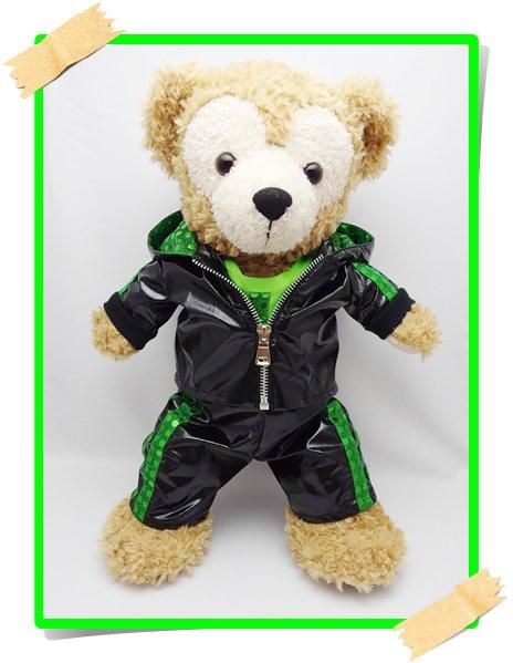 ダッフィー&シェリーメイ 衣装 Sサイズ (身長43cm)  黒ジャージ コスチューム 緑 n kdn26