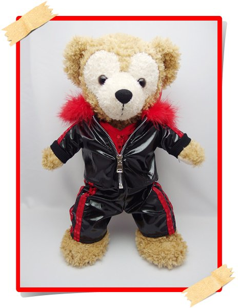 ダッフィー&シェリーメイ 衣装 Sサイズ (身長43cm)  黒ジャージ コスチューム 赤 kdn20