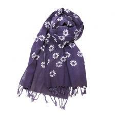 フリンジ手ぬぐい[紫色・花]