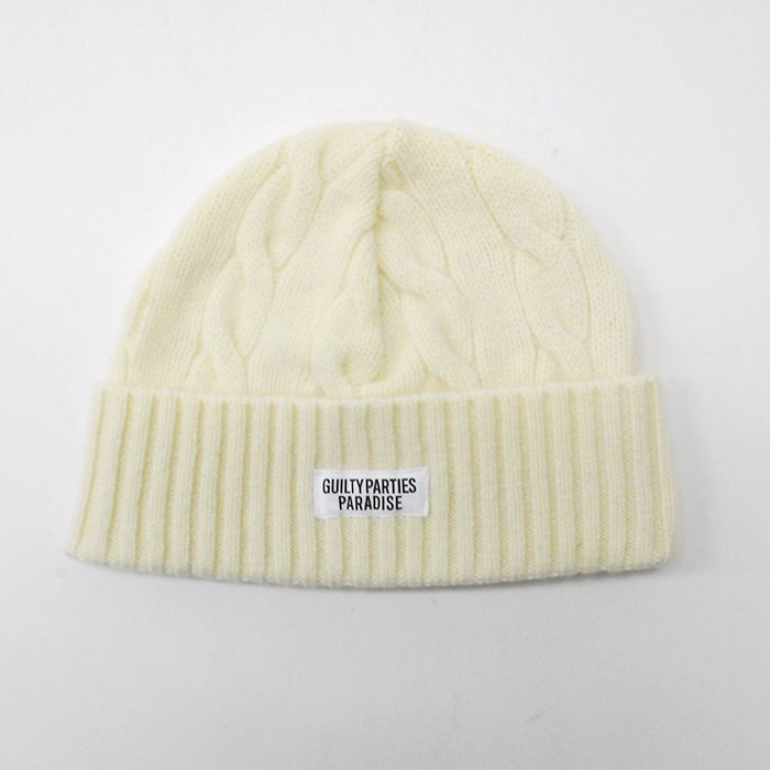 WACKOMARIA | CABLE KNIT WATCH CAP | WHITE
