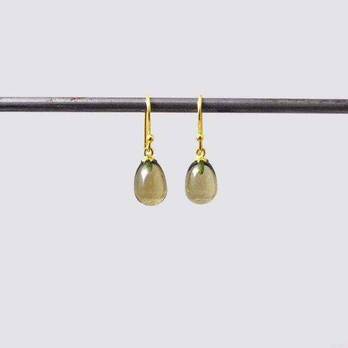 SOURCE objects | Small Egg Earrings | Olive Quartz