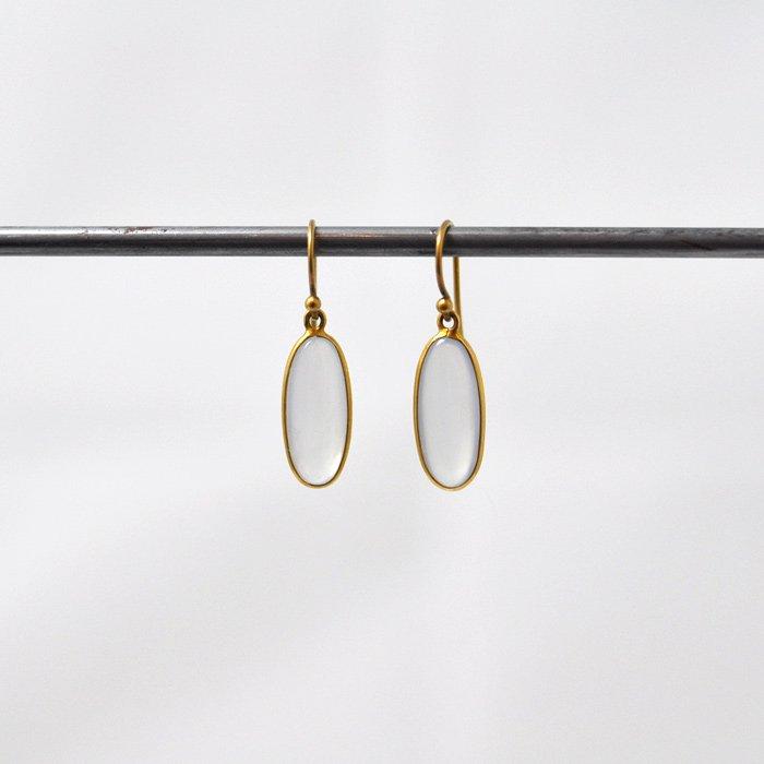 Tej Kothari | Smooth Long Oval Chalcedony Earrings