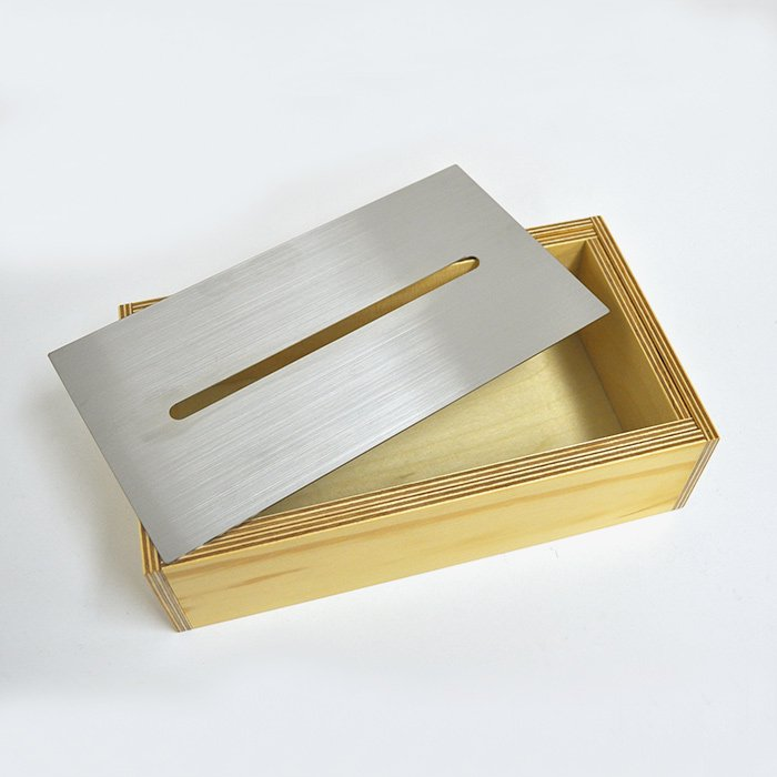 Landscape Products | Wooden Tissue Box | Stainless