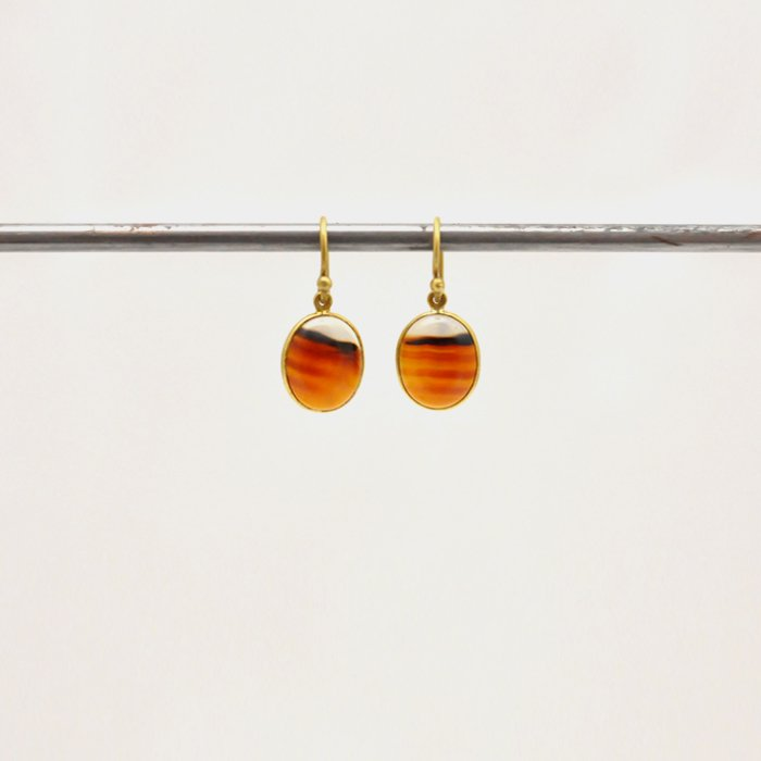Tej Kothari | Small Oval Montana Agate Earrings