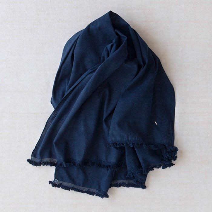 DOSA | Khadi Shawl w/knotted Tassel | Indigo