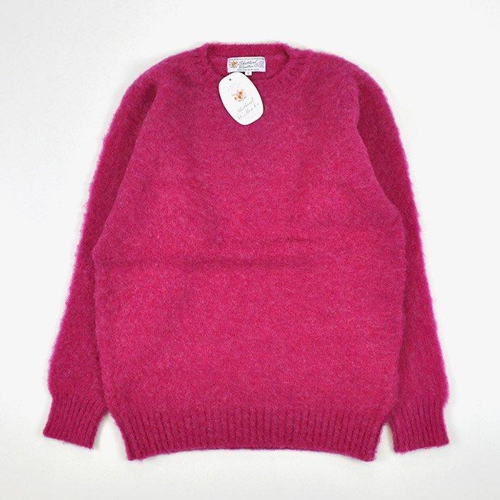 Shetland Woollen Co  | Plain Shaggy Dog Crew Neck Knit | Carnation -  Stripe-inc  Online Shop