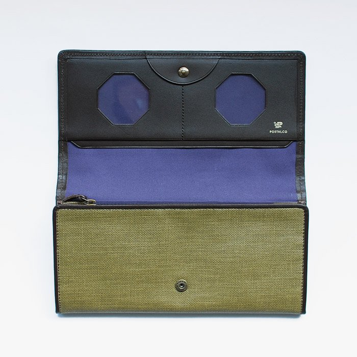 POSTALCO | Pressed Cotton Long Wallet | Olive Green