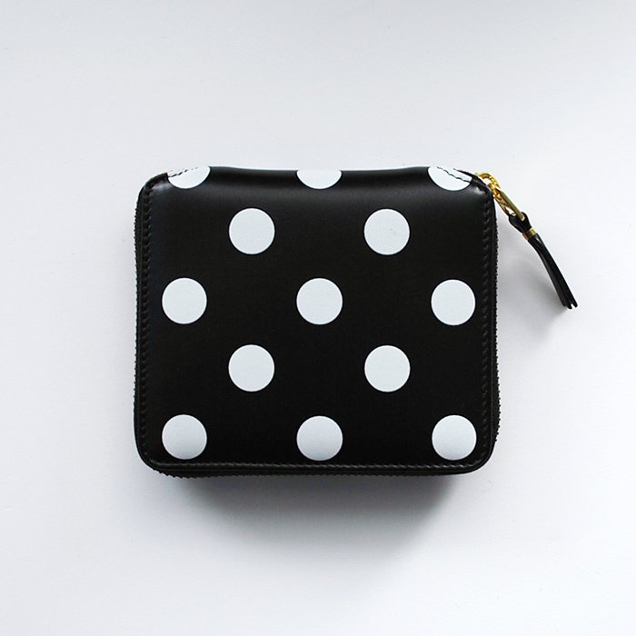 CDG Wallet | Polka Dots Printed | Black