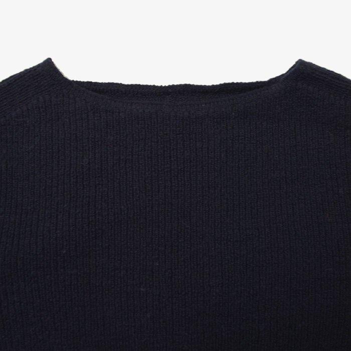 F/style | ホールガーメントのリブ編みウールニット | ネイビー