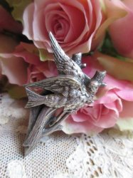 小鳥のクリップブローチ