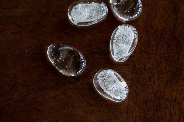 くるみガラス まゆ玉箸置き ガラス工房 橙