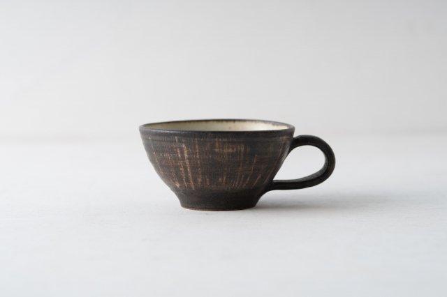 黒墨釉線紋 スープカップ 角りわ子