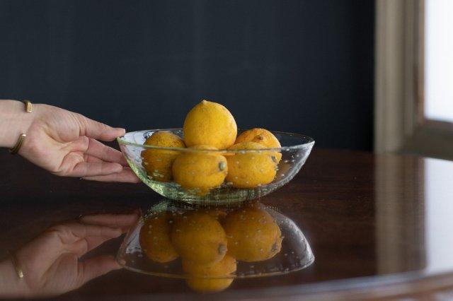 くるみガラス 中鉢 ガラス工房 橙