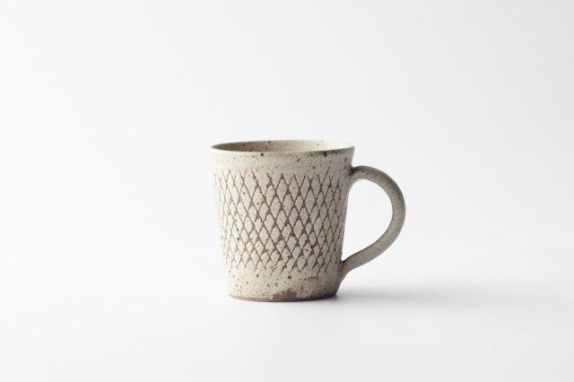 白釉線紋 マグカップ 角りわ子