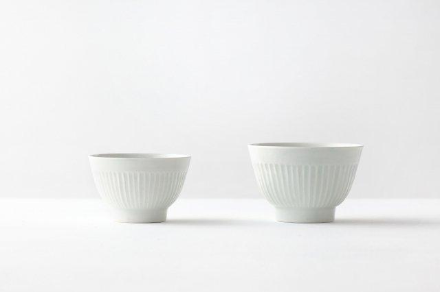 白磁飯碗  しのぎ (大小) 阿部春弥