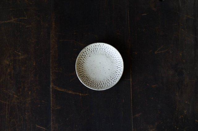 角りわ子 白クロスライン 皿 5寸