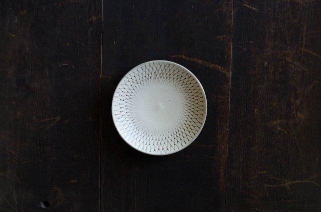 角りわ子 白クロスライン 皿 6寸
