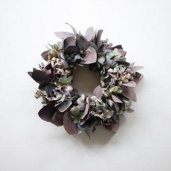 紫陽花とユーカリのリース(box付き)