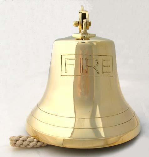 25.4cm 警鐘 - 消防士のトラックのアラーム - 真鍮の鐘