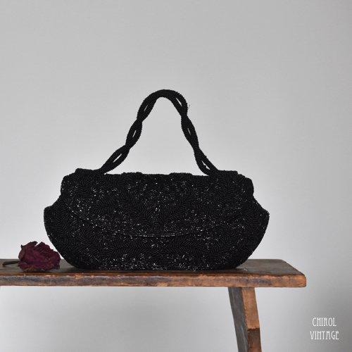 ブラックビーズ ハンドバッグ