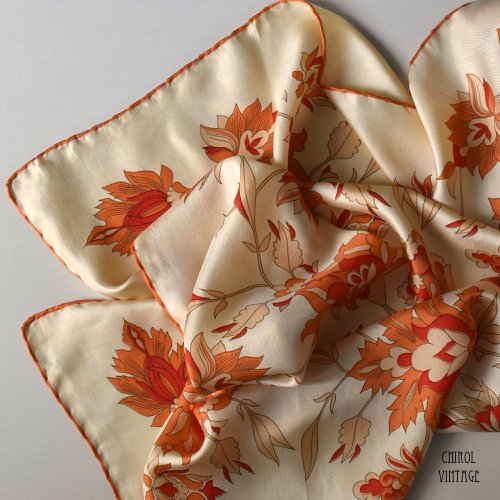 オレンジ サイケデリックフラワー シルクスカーフ