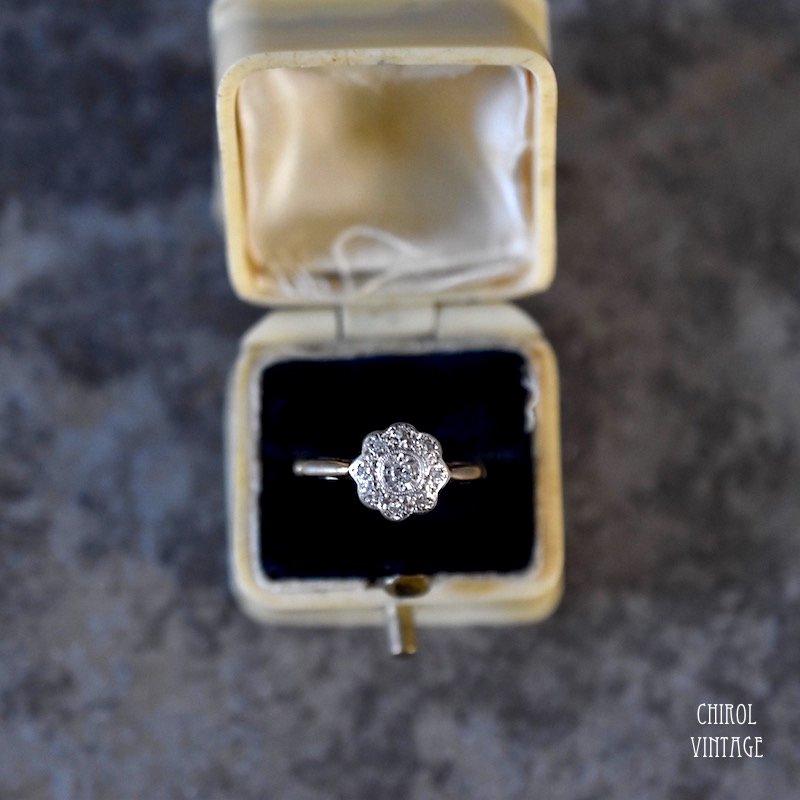 18Kゴールド プラチナ ダイアモンド クラスターリング