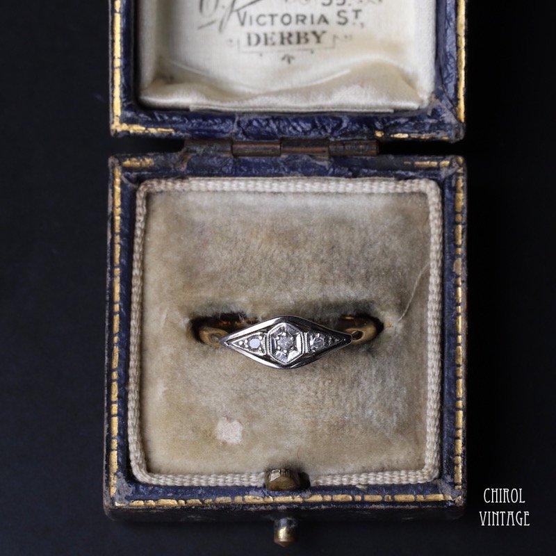 18Kゴールド プラチナ オクタゴンダイアモンドリング