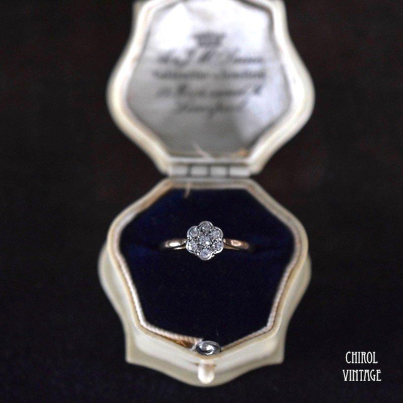 18Kゴールド プラチナ ダイアモンド デイジーリング