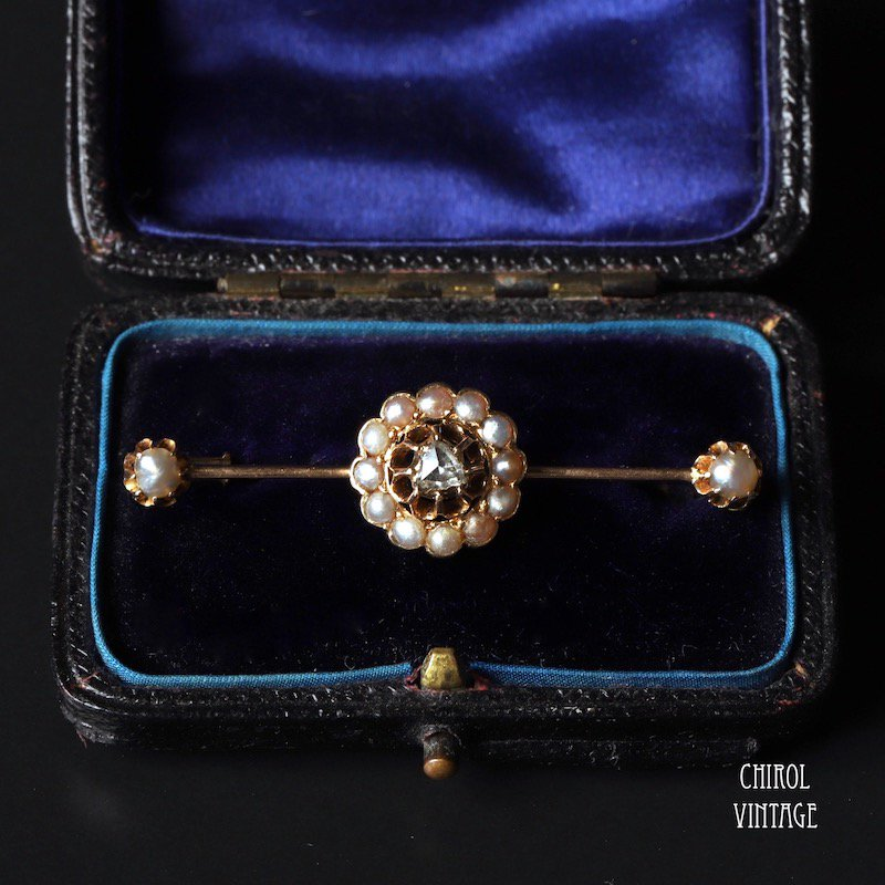 18Kゴールド ローズカットダイアモンド シードパールブローチ