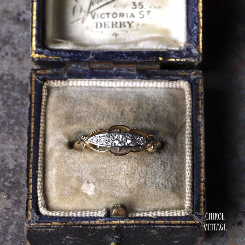 18Kゴールド プラチナ 5ダイアモンドリング