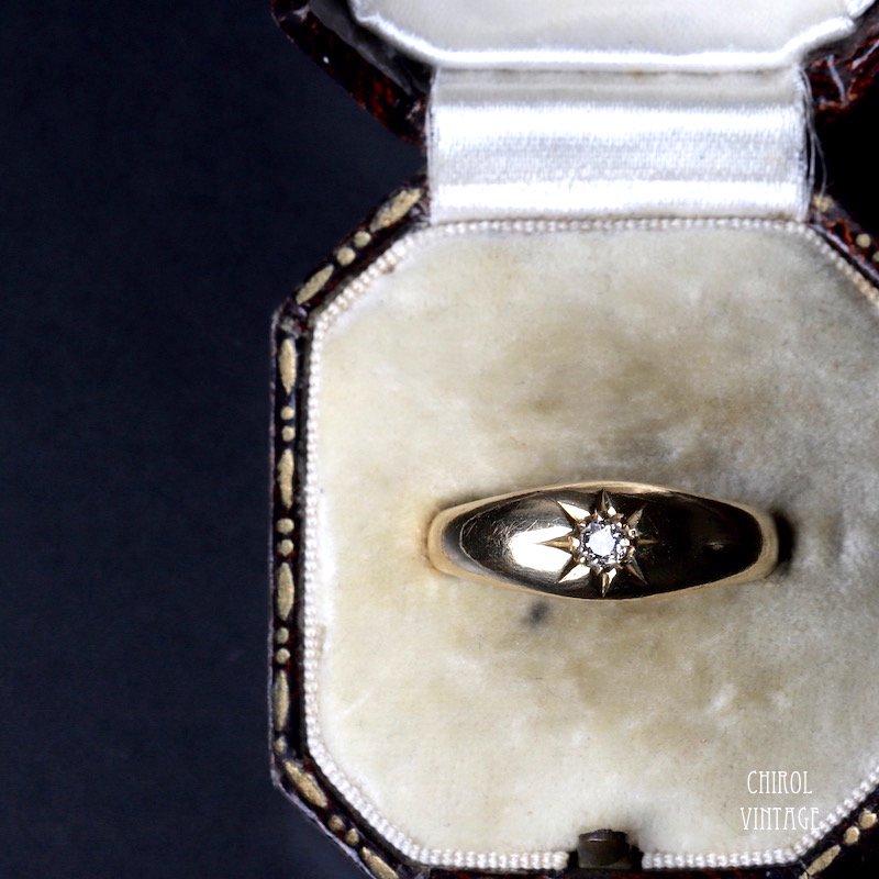 18Kゴールド ソリティアダイアモンド ジプシーリング