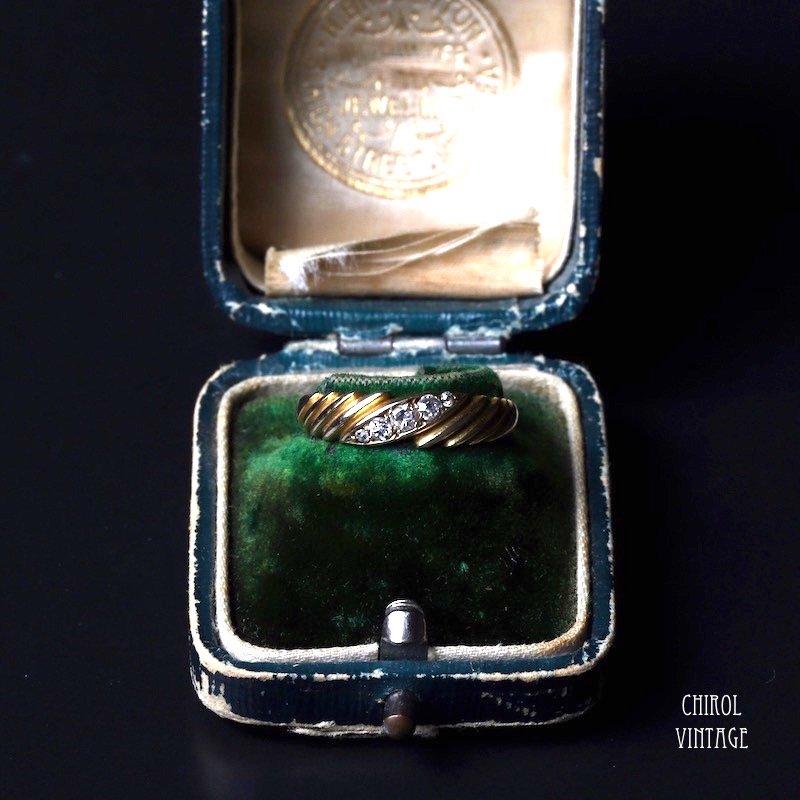 アンティーク 18Kゴールド ダイアモンド ツイストリング