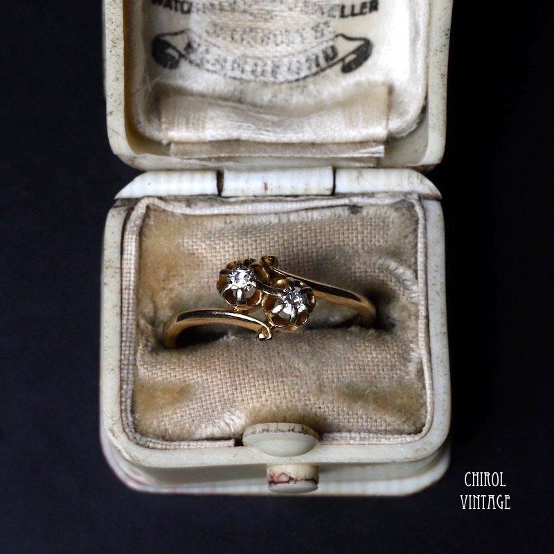 アンティーク 18Kゴールド ダイアモンド トワエモアリング