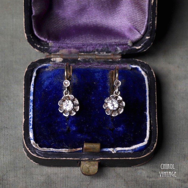 フランス 18Kゴールド ダイアモンド フリンジピアス