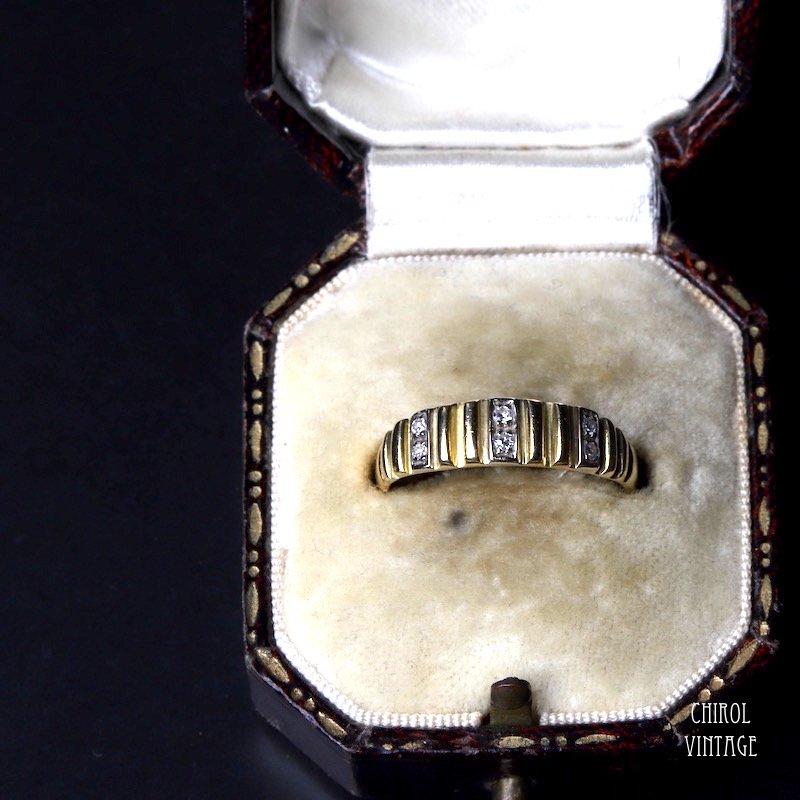 アンティーク 18Kゴールド ダイアモンド ストライプリング