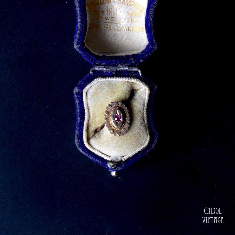 9Kゴールド ルビー ジプシーピアス(single)