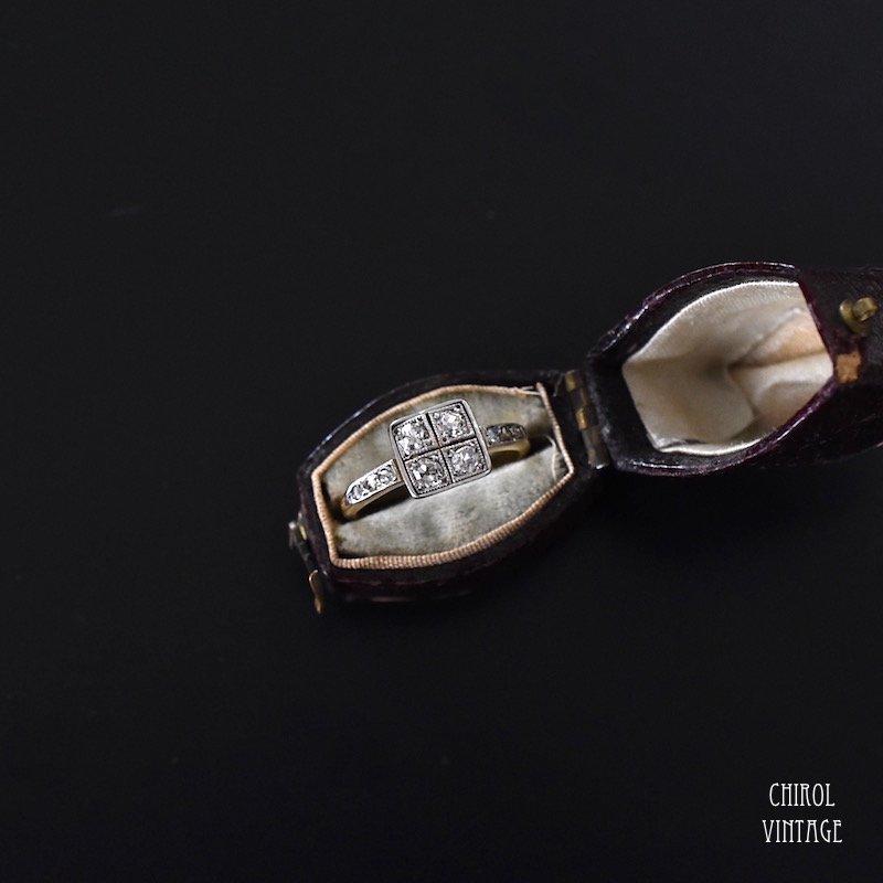 アンティーク 18Kゴールド プラチナ ダイアモンド スクエアフェイスリング