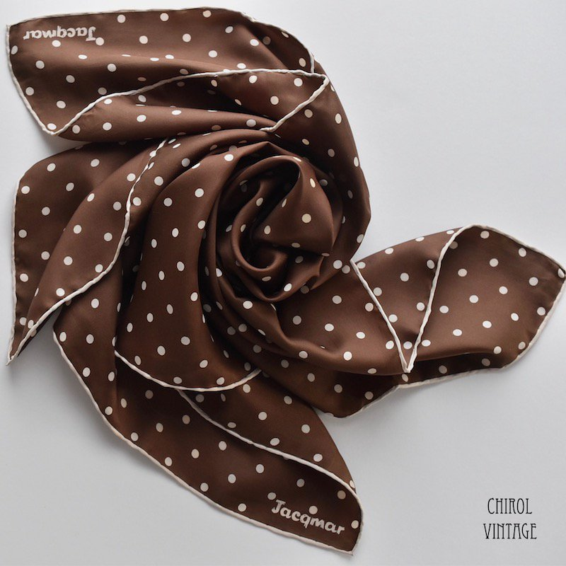 Jacqmar ブラウン ドットシルクスカーフ
