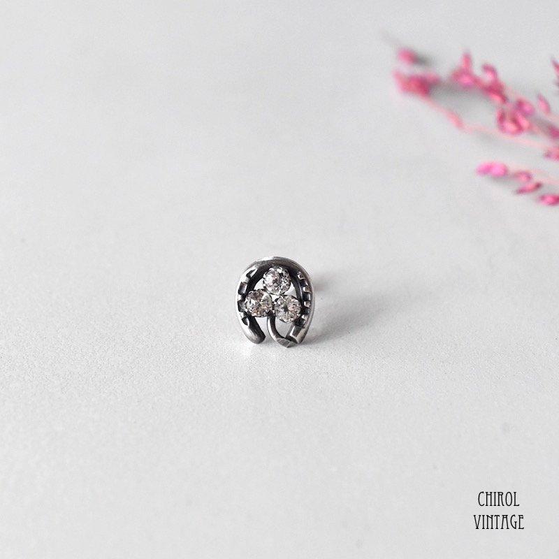クリアグラスクローバーxホースシュー シルバーピアス(single)