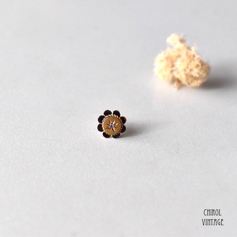 9Kゴールド ダイアモンド ジプシーフラワーピアス(Single)