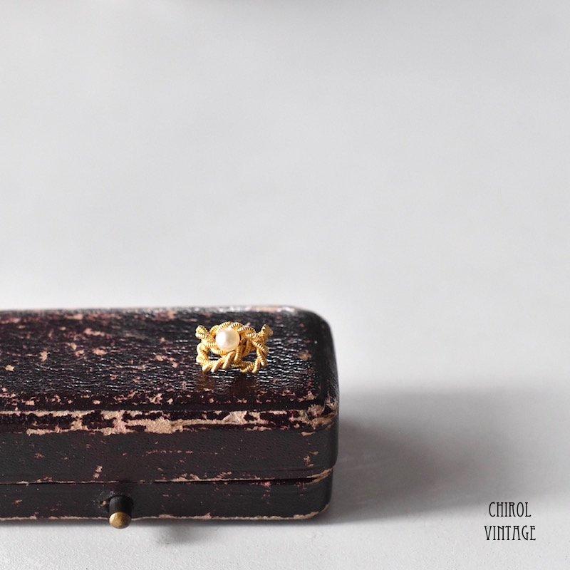 15Kゴールド リアルパール ツイストノットピアス(single)