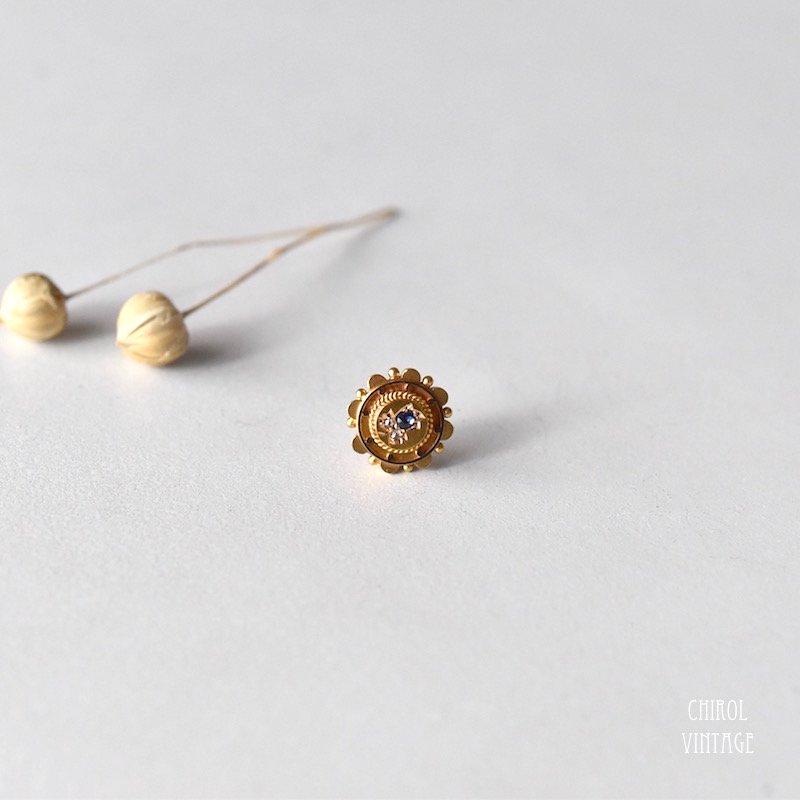 15Kゴールド サファイアxダイアモンド フラワーピアス (single)