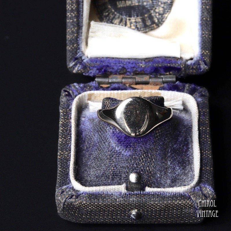 ヴィンテージ メンズ 9Kゴールド オーバルシグネットリング