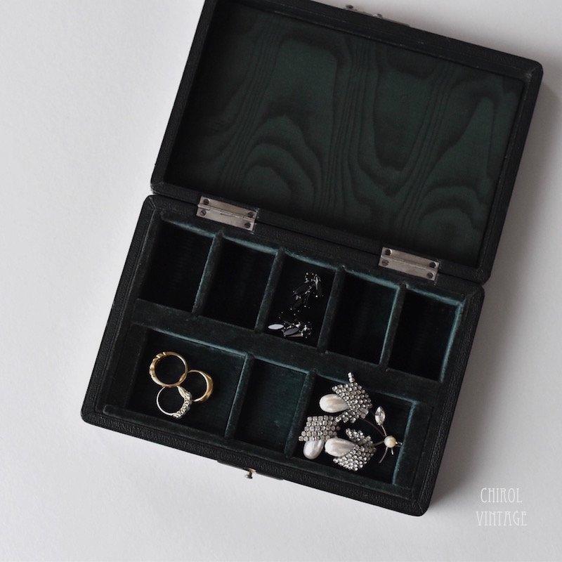 グリーンレザー フラットゲームチップボックス