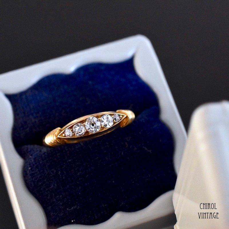 アンティーク 18Kゴールド 5ダイアモンドマーキスリング