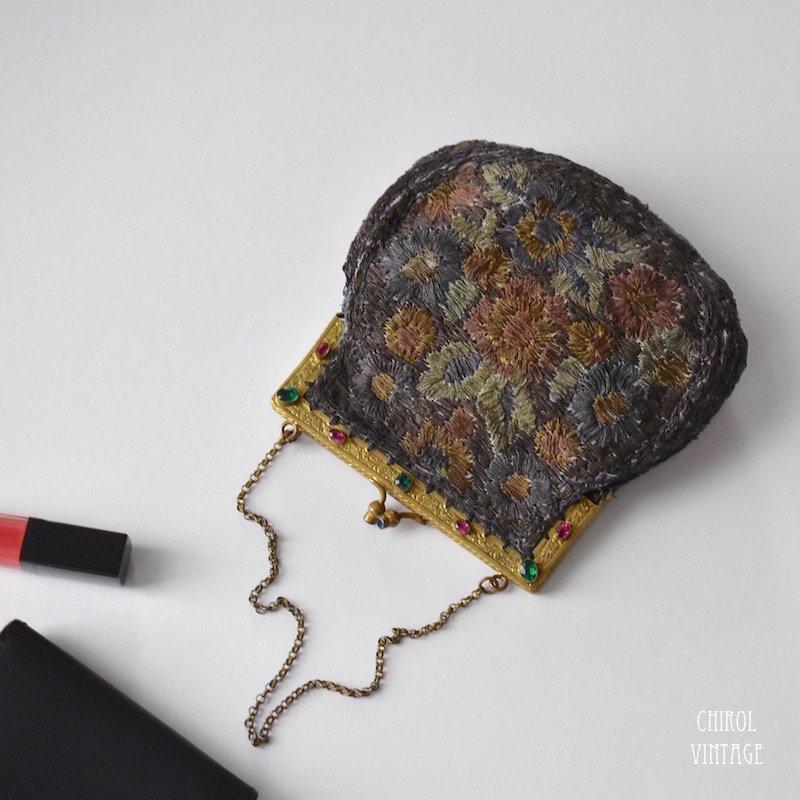 フランス ラメエンブロイダリー フラワーバッグ