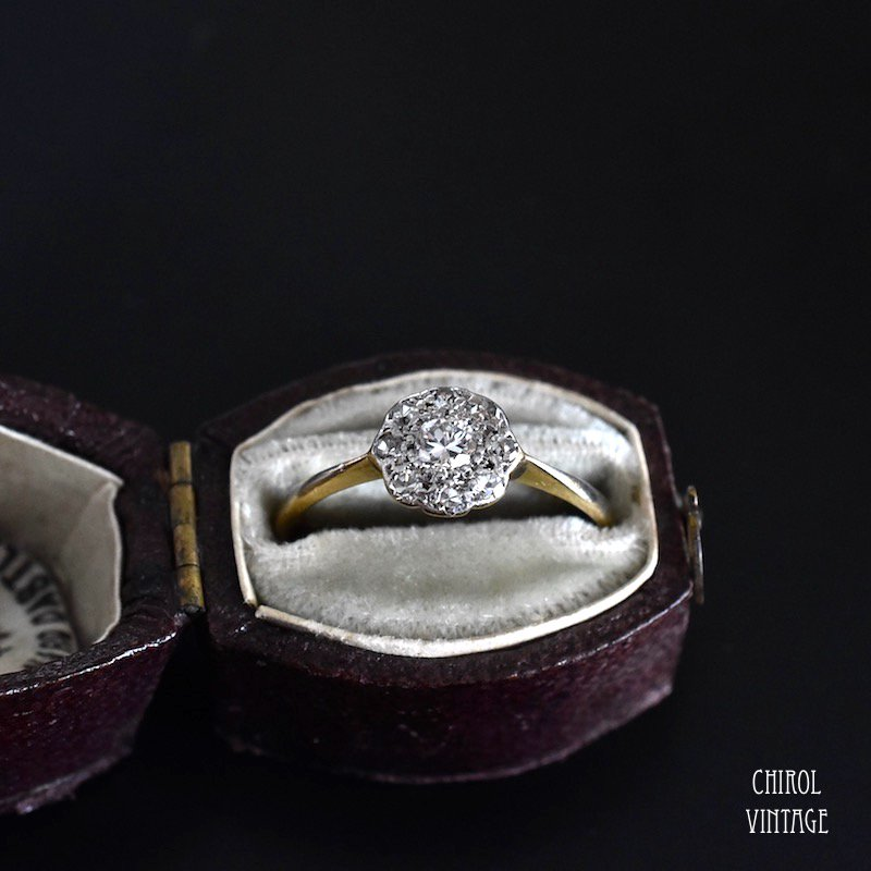 アンティーク 18Kゴールド プラチナ ダイアモンドデイジーリング