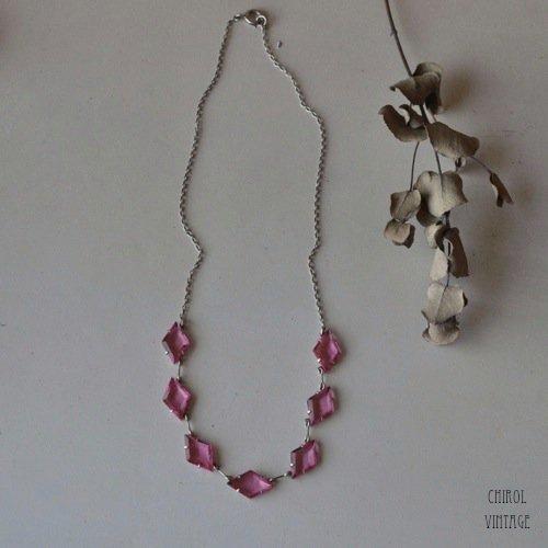 ピンクダイヤグラス オープンバックネックレス