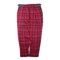 Cokitica (コキチカ) リネン チェック レディース U-パンツ ダークレッドチェック (Linen Check U-Pants Dark Red Check) <img class='new_mark_img2' src='//img.shop-pro.jp/img/new/icons20.gif' style='border:none;display:inline;margin:0px;padding:0px;width:auto;' />