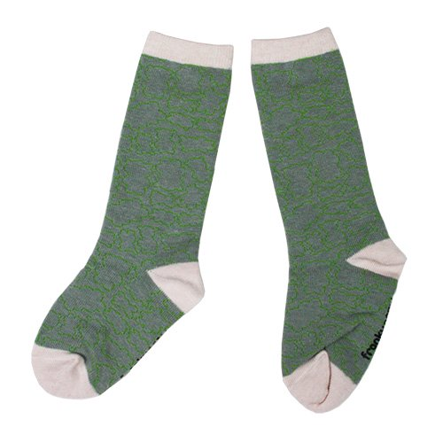 Franky Grow (フランキーグロウ) クマ ソックス グレー&ピンク (BEAR SOCKS Gray Pink) 靴下
